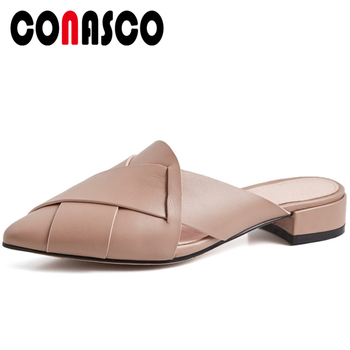 CONASCO Summer Concise Casual Women Genuine Leather Sandals Mules Slippers Pumps Cross-Tied Solid Color Thick Heels Shoes Woman