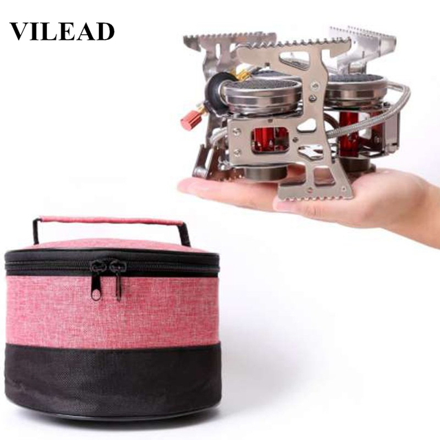 VILEAD 8000W Super Power Gas Burner Folding Outdoor Camping Stoves Cooking Windproof Butane Burners Portable Heater Furnace