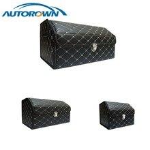 AUTOROWN PU 가죽 트렁크 주최자 쇼핑 캠핑 피크닉 홈 차고 저장 가방 자동 인테리어 액세서리 S/M/L