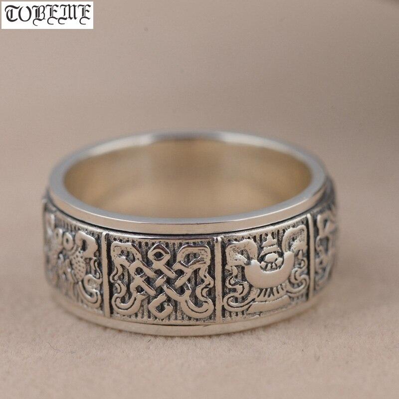 Handmade 100% 925 Silver Tibetan Spinning Ring 925 Sterling Silver Eight Buddhist Sacret Symbols Ring Good Luck Turning Ring