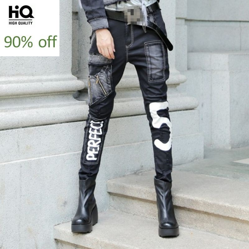 Punk Style New Arrival Fashion Women Harem Pants Female Trousers Jeans Denim Long Pants Pockets Zipper Washed Black Plus Size