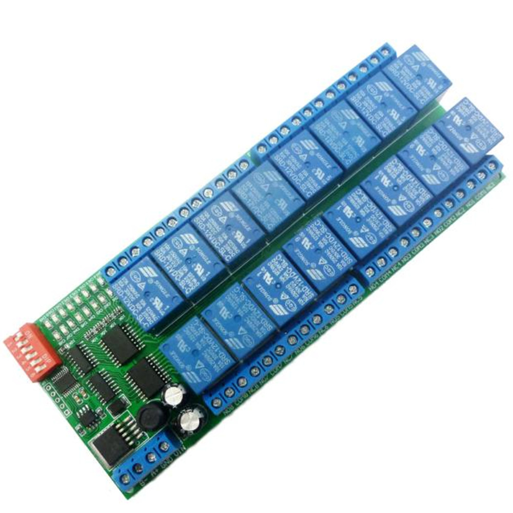 Taidacent PTZ PLC Controller Serial Port Remote Smart Switch 485 16 CH Modbus RTU Rs485 Relay Board 16 Channel 12v Relay Module