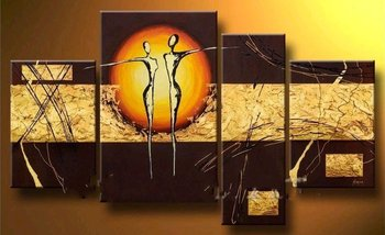 Hand-Painted Home Décor Abstract Oil Painting On Canvas 4 Pieces Abstract Paintings Modern Wall Art Group Oil Painting
