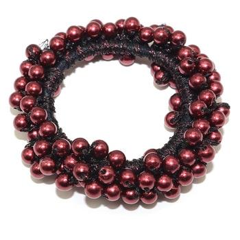 14 Colors Woman Elegant Pearl Hair Ties Beads Girls Scrunchies Rubber Bands Ponytail Holders Hair Accessories Elastic Hair Band 25