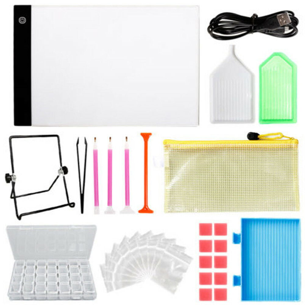 DIY Tools Set 5D Diamond Embroidery Painting Kit Aluminium Alloy LED Light Pad Light Board Stand Holder NEW|Art Sets| |  - title=