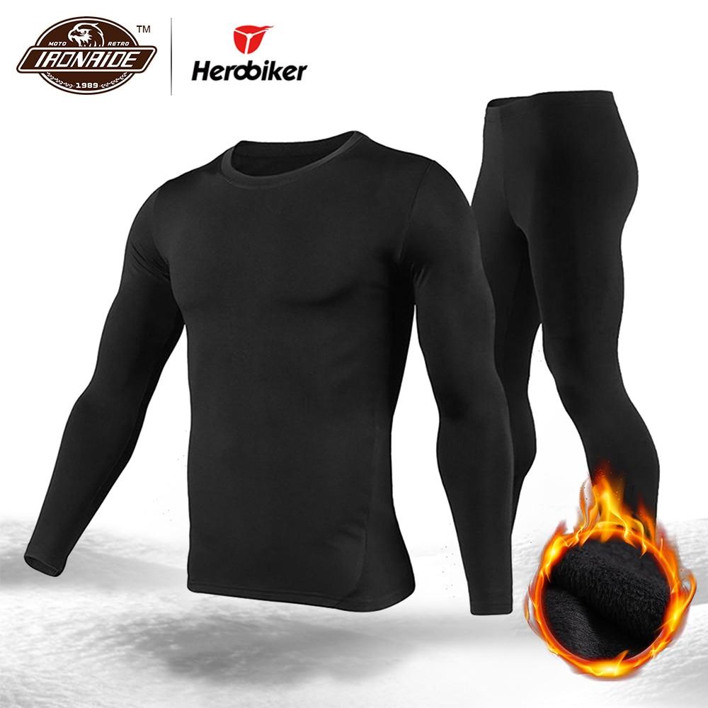 Herobiker velo forrado conjunto de roupa interior térmica motocicleta esqui camada base inverno quente longo johns camisas & topos terno inferior