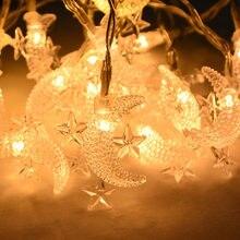Guirnalda de luces LEd con forma de luna y estrella para decoración del hogar, cadena de luces con diseño de Eid Mubarak para decoración del hogar, Ramadán, Kareem, musulmán, islámico, Hajj Mubarak Eid