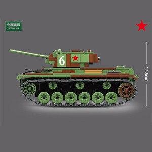 Image 3 - 726 sztuk wojskowy rosja KV 1 Tank Building Blocks WW2 wojskowy czołg żołnierze sił zbrojnych figurki broń części cegieł zabawki dla dzieci