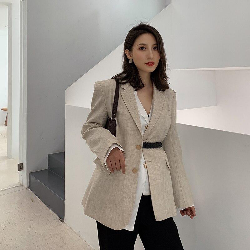 Fashion Casual Ladies Blazer 2019 Autumn Female Beige Long Sleeve With Belt Blazers Jacket Women Outerwear Suit Coats