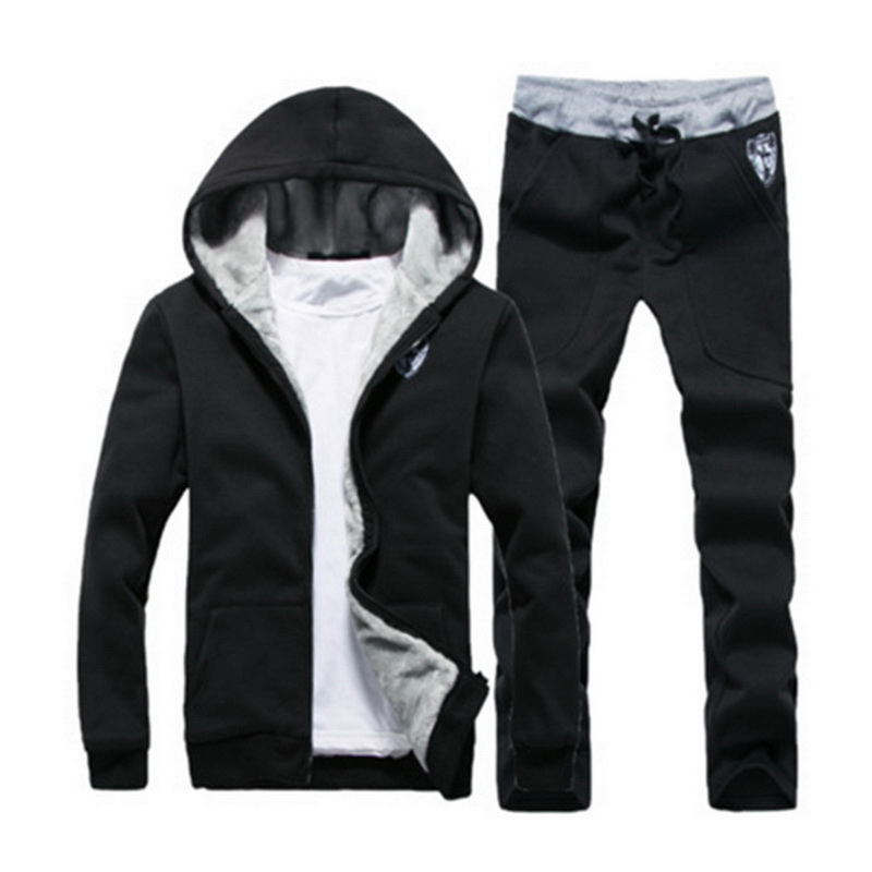 Mens Sportswear Casual Winter Warm Hooded Tracksuit Men Two Piece Sets Suit With Hood 2PC Fleece Thick Jacket + Pants Male 3XL