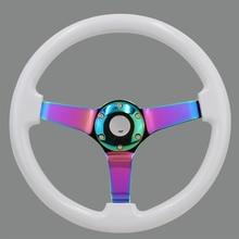 14inch Wooden Steering Wheel Deep Dish Drift Sport Steering Wheels with Neo Chrome Spokes