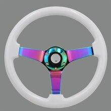 Rodas de direção de madeira do esporte da tração do prato profundo do volante de 14 polegadas com raios de cromo neo