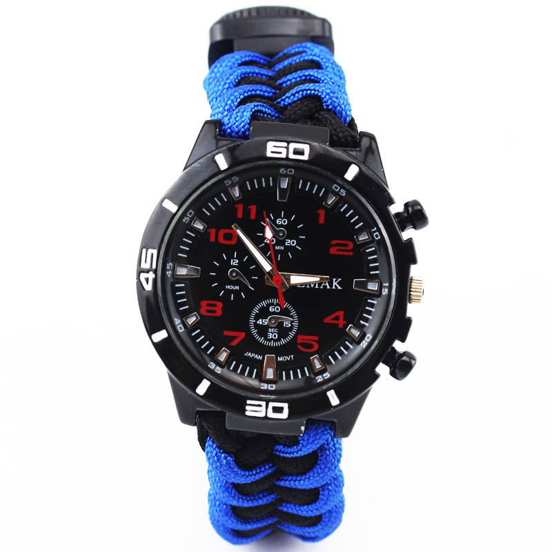 Seven Core Umbrella Rope Multi-functional Survival Watch Open Country Emergency Safe Rope Entirely Handmade Weaving Watch Strap