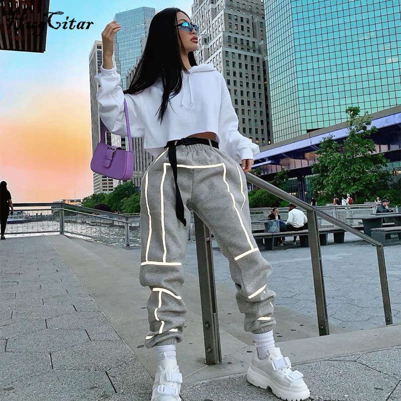 Hugcitar 2019 High Waist Reflective Stripped Patchwork Loose Cargo Pants Autumn Winter Women Streetwear Club Trousers