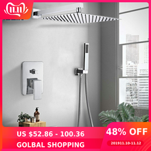 Shower Faucet Waterfall Bath Chrome Wall-Ultrathin with 16-