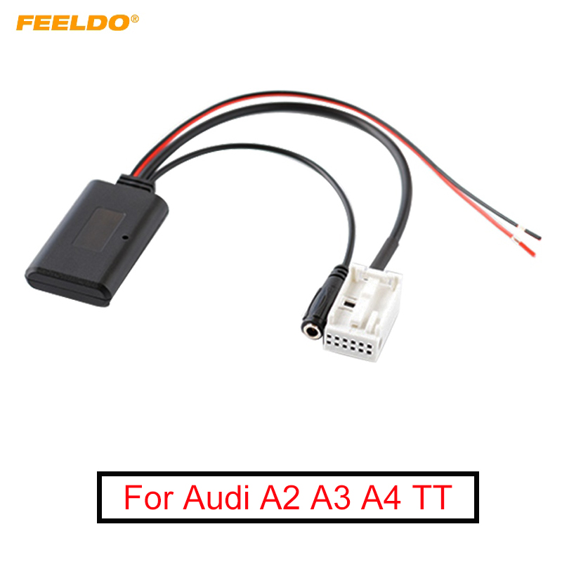 FEELDO 1PC Car Wireless Bluetooth Module Aux Audio Cable Music Adapter With Micphone For Audi A2 A3 A4 TT AUX Cable