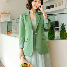 2020 spring and summer ladies long sleeve professional small suit High quality green jacket feminine Sales overalls interview