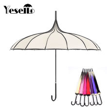 Yesello beige Women Big Large long Handle Gothic Classical Windproof Tower Pagoda Rain Umbrella(China)