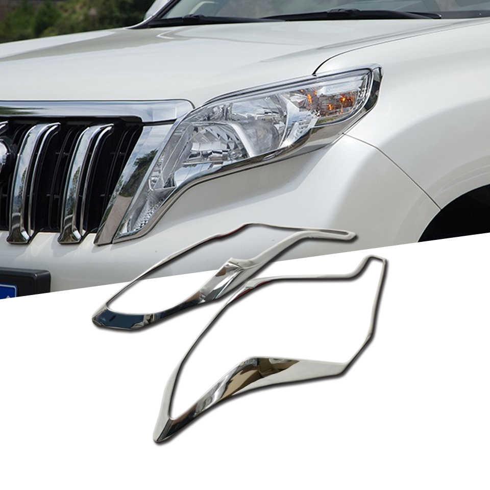 For Toyota Prado FJ150 ABS Chrome Front Headlight Lamp Trim Cover  2014-2017