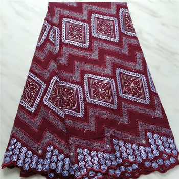 High Quality African Lace For Women Cotton Dry Lace Fabric Swiss Voile With Stones Red wine Swiss Voile Lace In Switzerland
