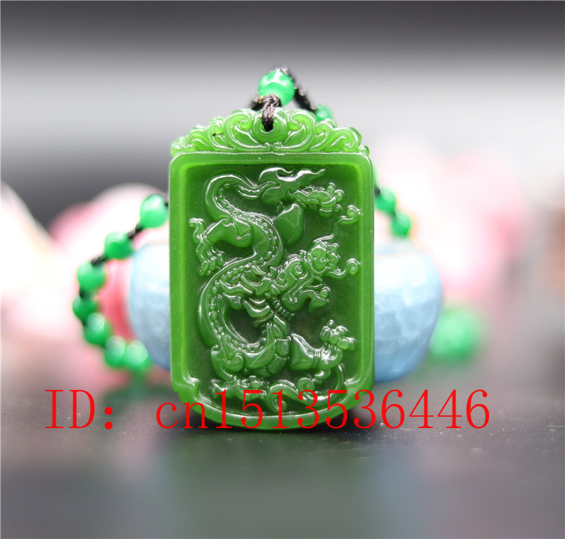 Carved Dragon Jade Pendant Natural Chinese Green Beads Necklace Charm Jadeite Jewellery Fashion Lucky Amulet Gifts For Man