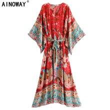 Vintage chic donne rosso floreale manicotto del blocco della stampa spiaggia Della Boemia abiti Kimono Donna con scollo a V telai Boho maxi vestito abiti