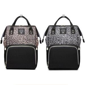 Сумка для смены детских подгузников, большой вместительный дорожный леопардовый Рюкзак для мам Lequeen, сумка для беременных
