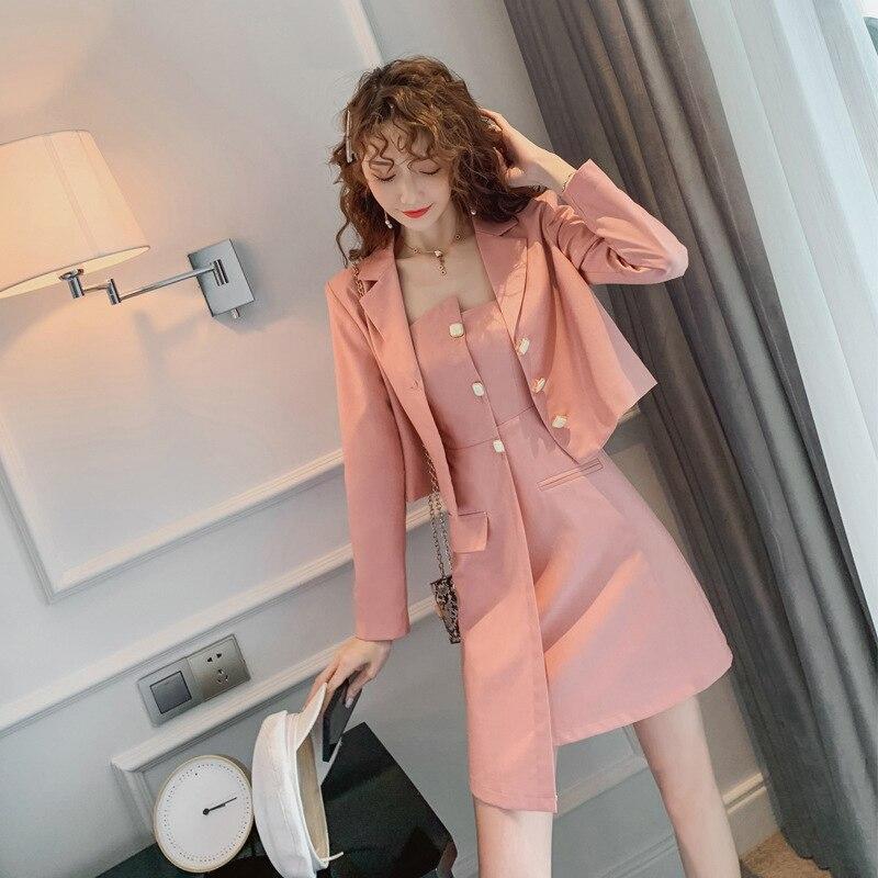 Mode rose veste nouveauté élégant mini asymétrique robe 2 pièces de haute qualité travail style frais vacances solide femmes ensemble