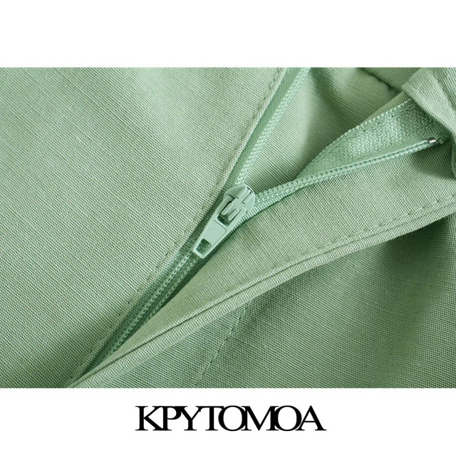 KPYTOMOA Women 2021 Chic Fashion Side Pockets Linen Bermuda Shorts Vintage High Waist Zipper Fly Female Short Pants Mujer 4