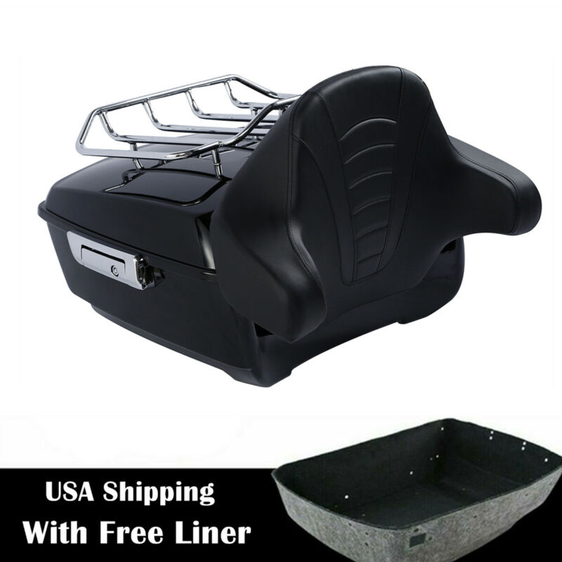 """Motorcycle 13.7"""" King Tour Pack Trunk Rack Backrest For Harley Touring Road King Electra Street Glide FLHTCU FLHRC 2014 2019-in Motorcycle Trunk from Automobiles & Motorcycles"""