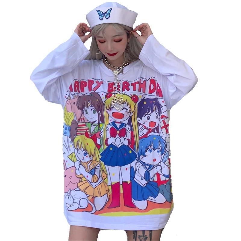Happy Birthday Gift Harajuku Mori Girls Sailor Moon Cartoon Printed Kawaii Long Sleeves Shirt Women Casual White Pink T-shirts