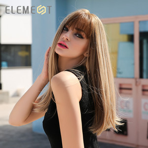 """Image 3 - Element 18"""" Blonde Synthetic Wig with Bangs Long Straight Natural Headline Heat Resistant Hair Cosplay Party Wigs for Women"""