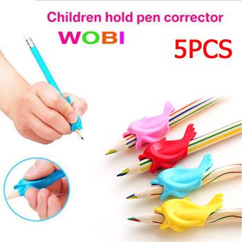 5 sztuk Silicon Dolphin w rybki pisanie postawy Wobi korekta dzieci studenci ołówek Holder najlepsza cena tanie i dobre opinie
