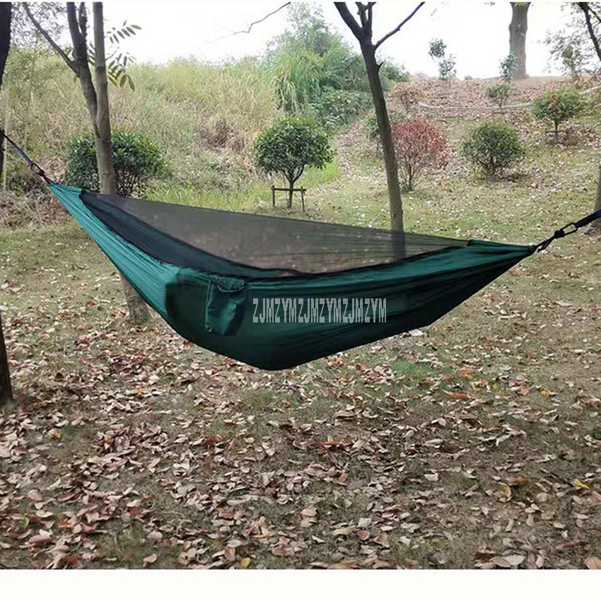 Nylon Hammock With Mosquito Net Adult Camping Outdoor Parachute Fabric Backpacking Travel Survival Hunting Sleeping Swing Bed