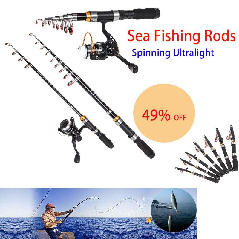 Спиннинговая Удочка телескопическая удочки для морской рыбалки спиннинг сверхлегкий полюс силовые ручные Снасти Приманка портативные рыболовные инструменты|Удочки|   | АлиЭкспресс