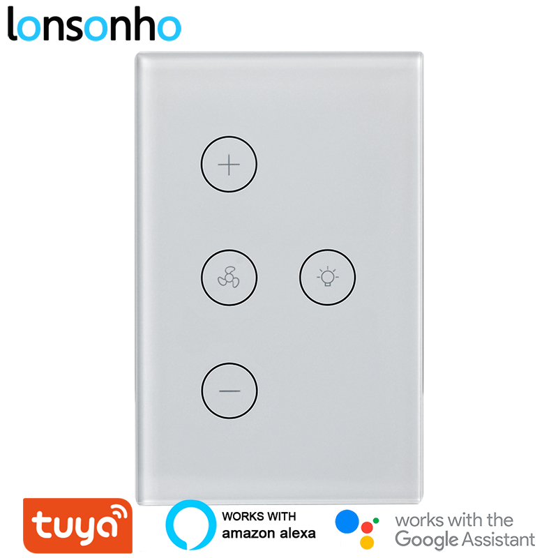 Lonsonho US Tuya Wifi Smart Fan Light Switch Touch Panel Wall Switch Works With Alexa Google Home Smart Life App|Home Automation Modules| |  - title=