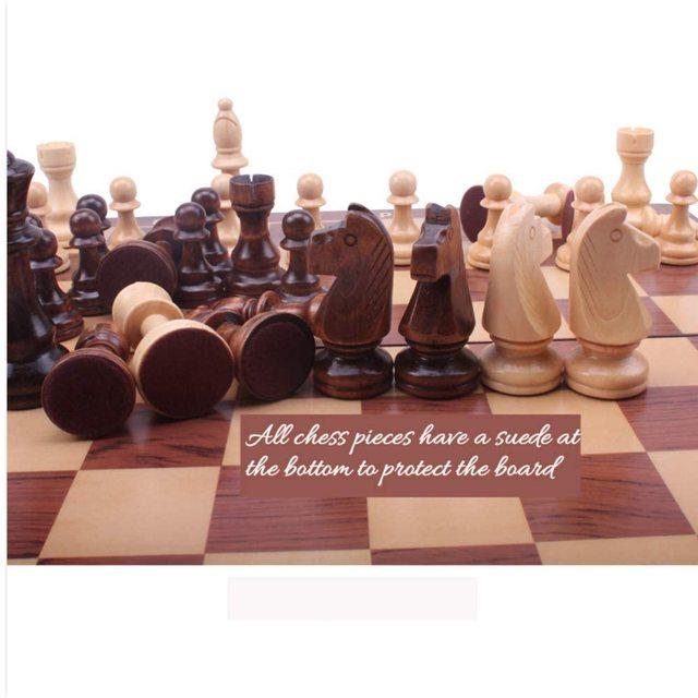 Jeu d'échecs en noyer 15 ''x 15'' avec intérieur de plateau de jeu feutré pour rangement 4