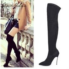 Rumbidzo/Коллекция года; сезон осень-зима; женские сапоги; обтягивающие высокие сапоги до бедра; Сапоги выше колена на высоком каблуке с острым носком; Sapatos