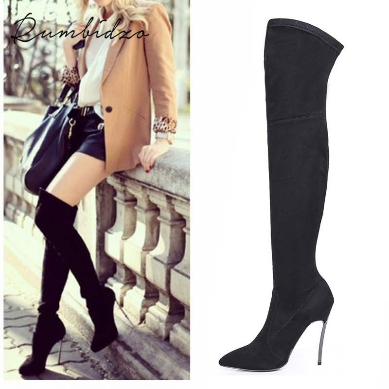 Rumbidzo 2019 Autumn Winter Women Boots Stretch Slim Thigh High Boots Over the Knee Boots High Heels Pointed Toe Sapatos image