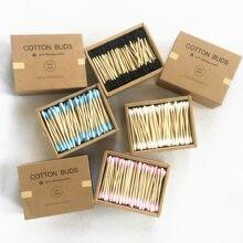 Boîte de coton tiges en bambou, emballage carton qui contient 1000 bâtonnets en bois, double embout, pour le soin des oreilles et du nez, accessoire de maquillage