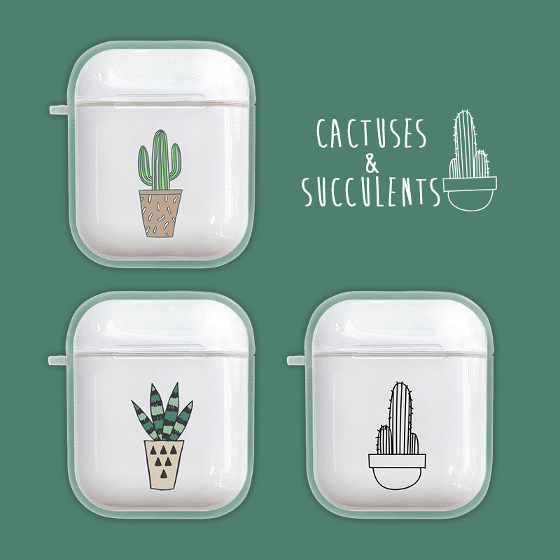 Luxury Transparent Cactus Wireless Bluetooth Earphone Case For Apple Airpods Soft Tpu Headphones Cases For Airpods 2 Cover