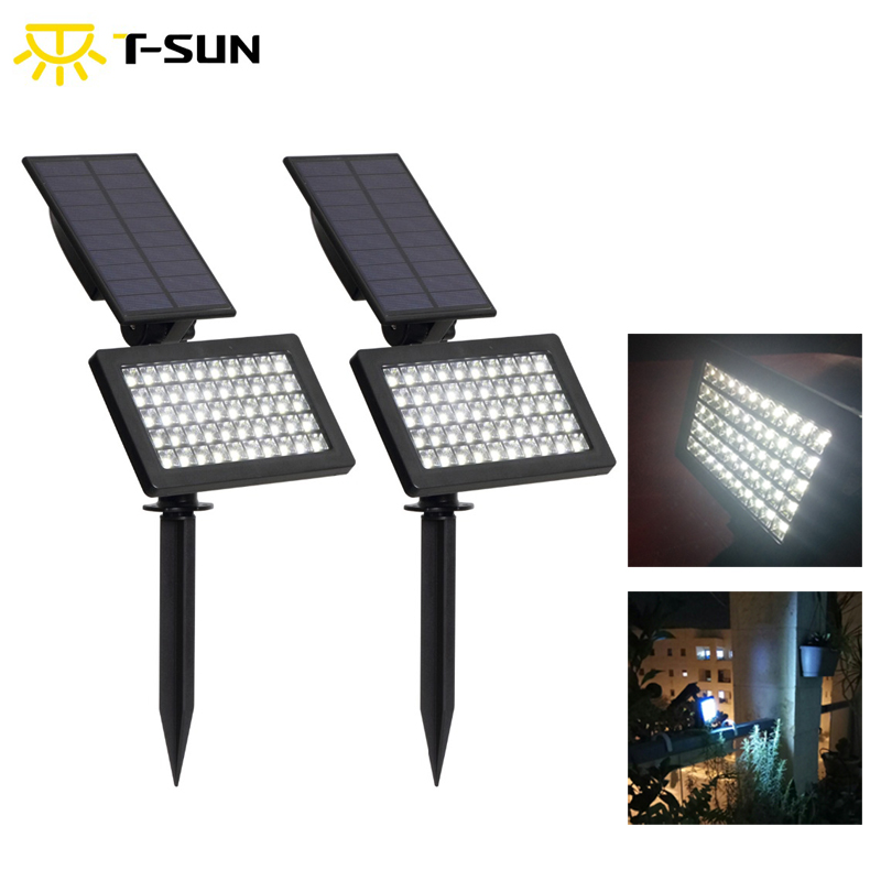 T-SUN 2 PACK Adjustable Outdoor Solar Lamp 50 Leds Solar Garden Led Light IP44 Waterproof Wall Lighting For Garden/Lawn
