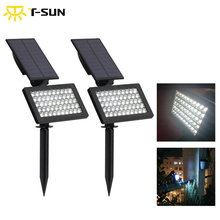 T-SUN 2 PACK Adjustable Outdoor Solar Lamp 50 leds garden led light IP44 Waterproof Wall Lighting for Garden/Lawn