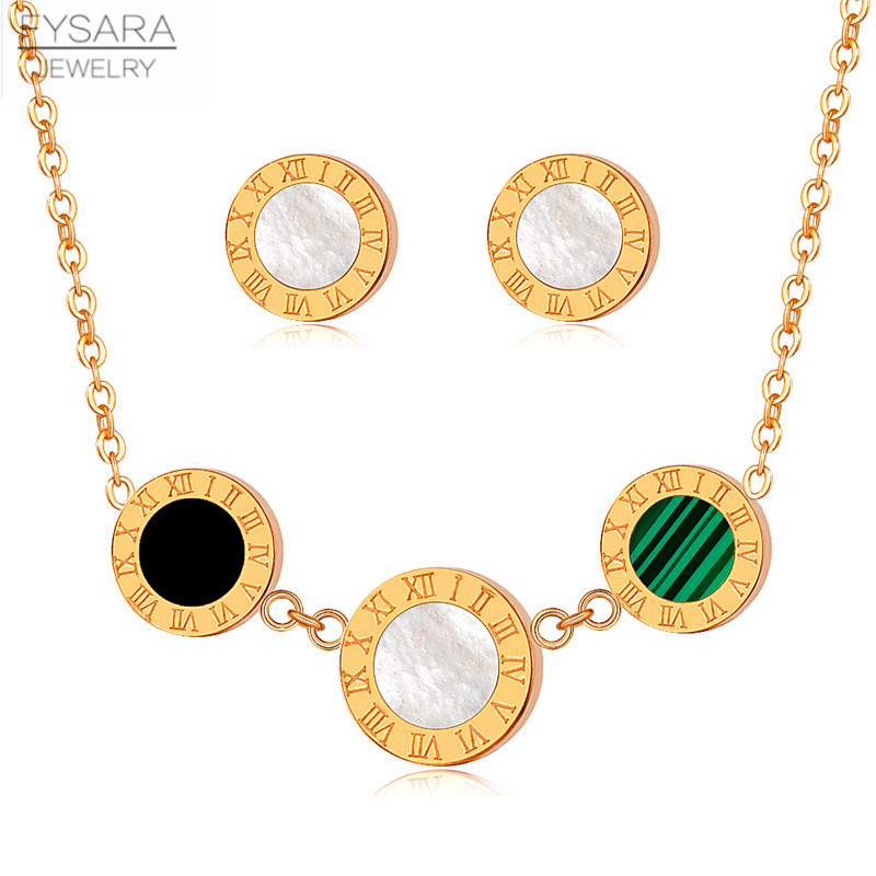 FYSARA Black White Shell Roman Numercal Round Tag Earrings and Necklace for Women Girl Luxury Brand Jewelry Set Gold Color Gift