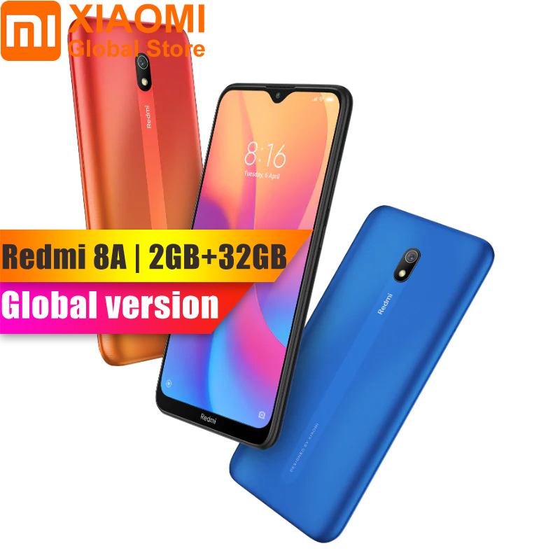 Global Version Xiaomi Redmi 8A 8 A 2GB 32GB Snapdargon 439 Octa Core 6.22 Inch Mobile Smart Phone 5000mAh 12MP Camera
