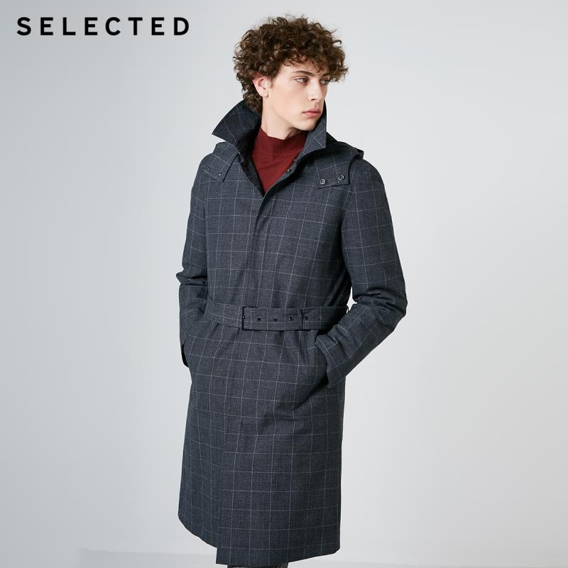SELECTED Men's Two-piece Mid-length Parka Clothes Winter Plaid Hooded Down Jacket Coat S | 419112503