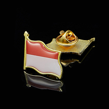 Indonesia National Flag Pin Brooch Badge Jewelry W/ Butterfly Buckle Lapel Pin Hat Shirt Pin Tie Accessories 5pcs uae flag pin brooch badge jewelry w butterfly buckle metal lapel pin tie hat pin decoration