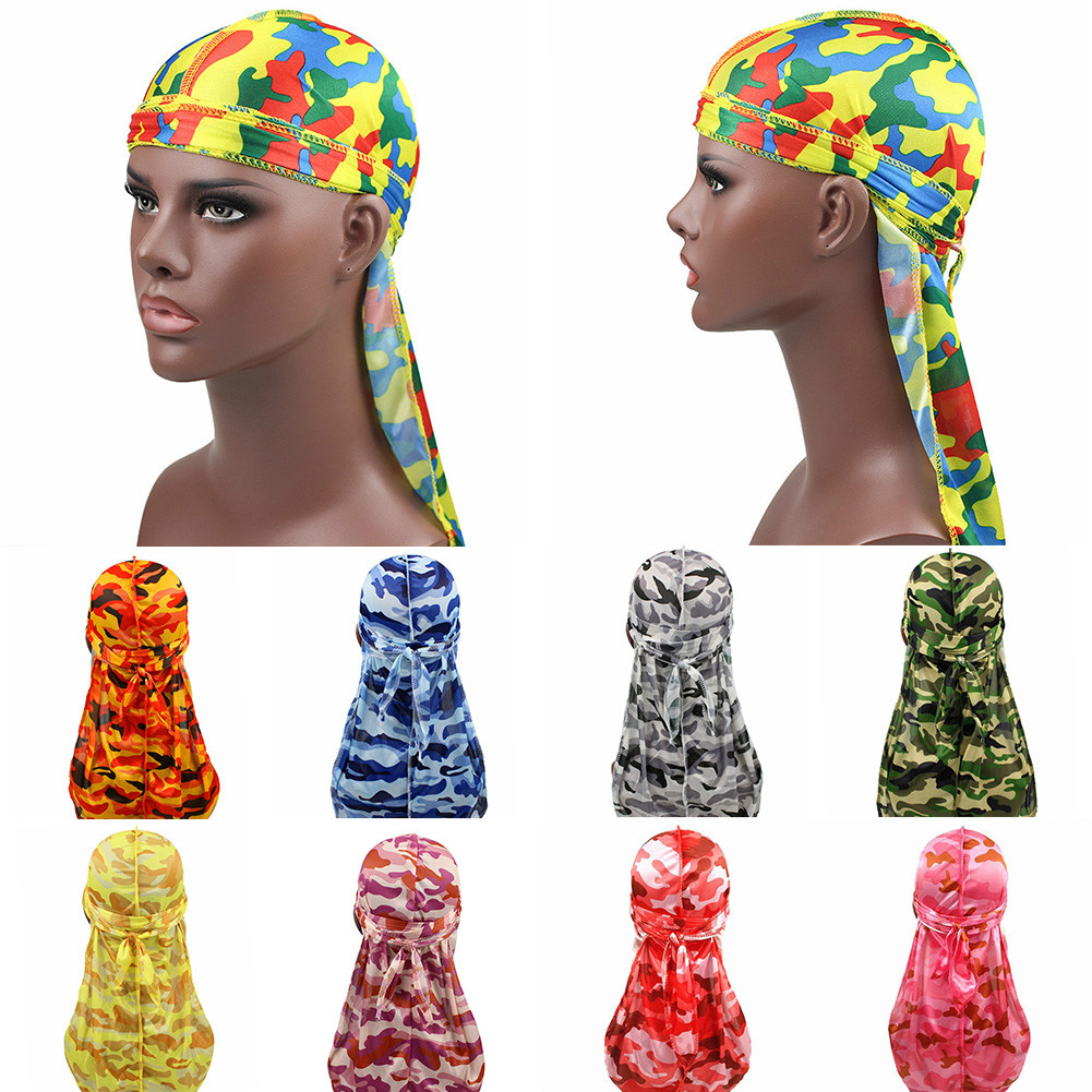 Hair Accessories Camo Durag Bandanas Headband Hats For Women Men Long Tail Pirate Hat Waves Do Doo Du Rag Turban Head Cover Cap