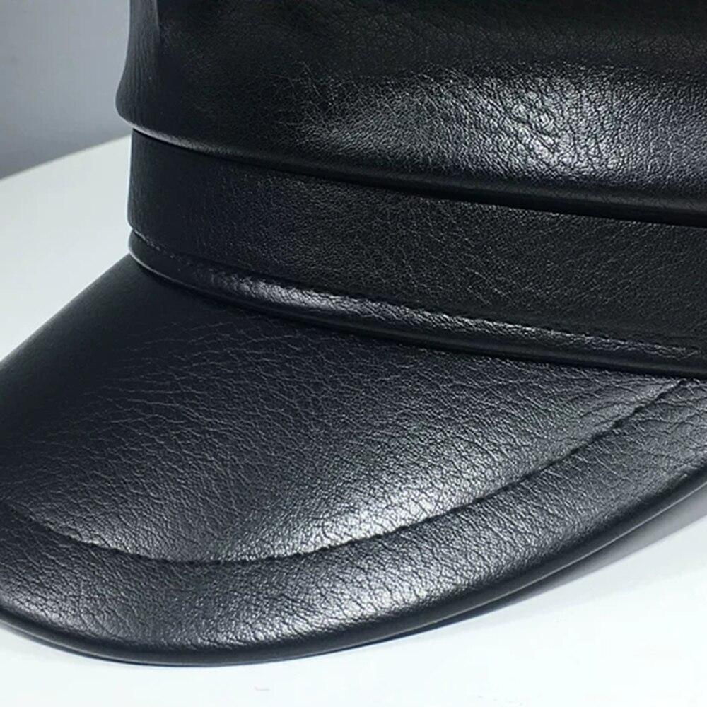 New Fashion PU Leather Military Hat Autumn Sailor Hat For Women Men Belt Berets flat top Female travel cadet hat Captain Cap