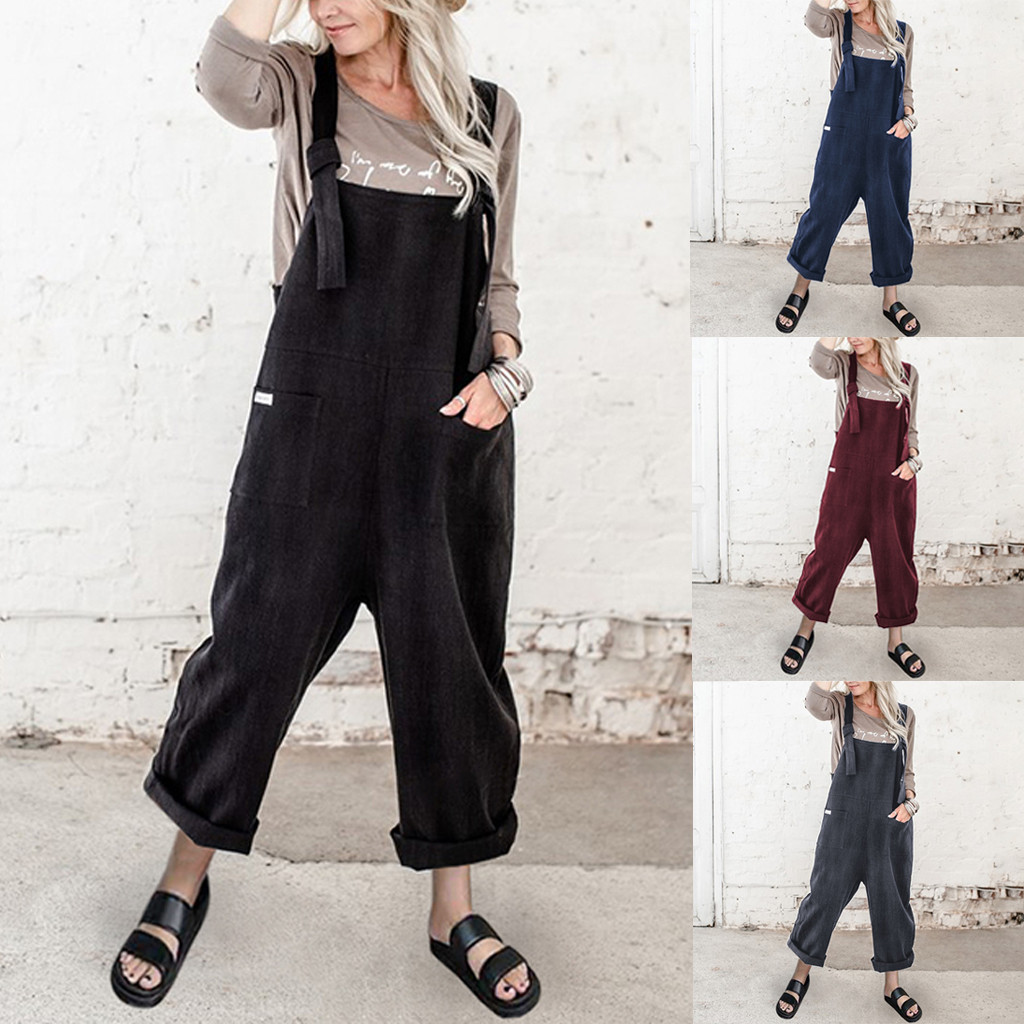 Vintage Suspender Rompers Womens Jumpsuit Fashion O-neck Camisole Rompers Playsuit Solid Pockets Overalls Long Playsuits 1
